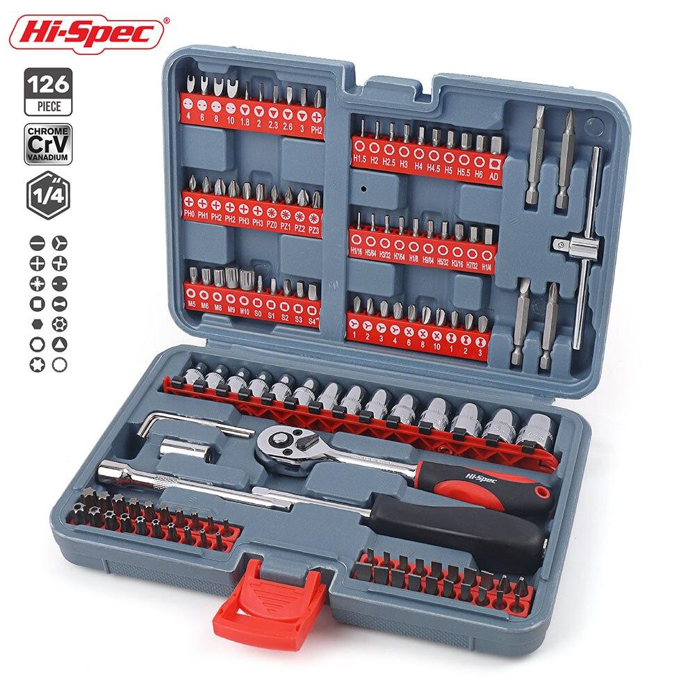 Hi Spec, 126 шт., набор инструментов для механики автомобиля, трещотка, гаечный ключ, Набор торцевых головок для ремонта автомобиля, мотоцикла, пластиковый ящик для инструментов, чехол для хранения