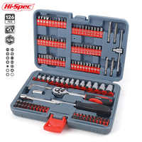Hi-Spec 126pc Mechanics Car Hand Tool Set Ratchet Wrench Socket Set for Auto Motorcycle Repair with Plastic Toolbox Storage Case