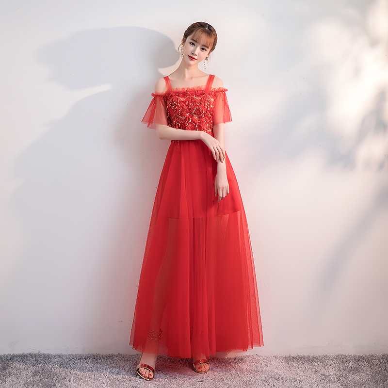 Vestido Bridesmaid Dress Elegant Wedding Party Sleeveless Sequined Tulle Fashion Ladies Sexy Prom Women Dress Red For Bridemaide