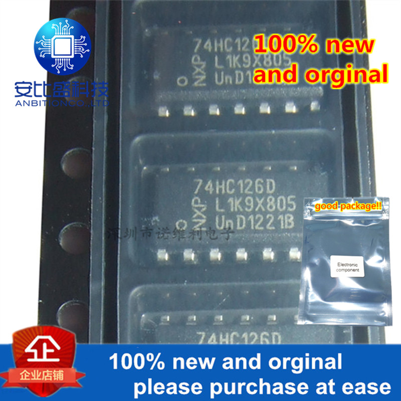 10pcs 100% New And Orginal 74HC126 74HC126D SN74HC126DR SOP14 QUADRUPLE BUS BUFFER GATES WITH 3-STATE OUTPUTS In Stock