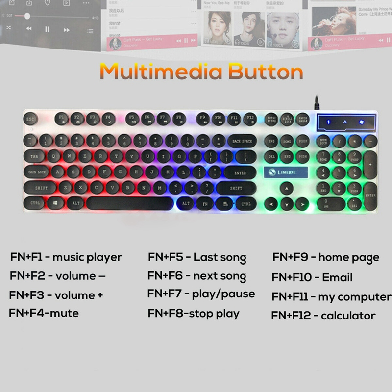 Wired Rainbow Led Back Mute Ergonomic Gaming Keyboard And Mouse Mouse Pad New Black in Keyboards from Computer Office
