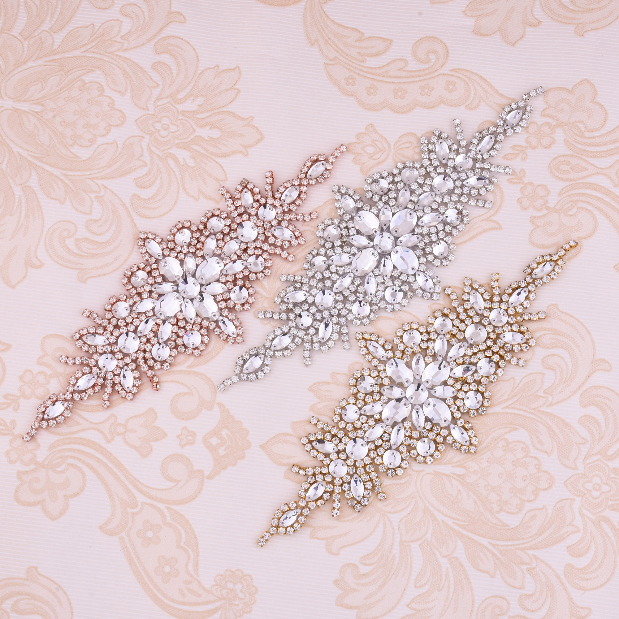 Rhinestone Bodice Appliques Silver Bridal Belt Gold Crystal Beaded Rose Gold Pearl Appliques Hot Fix Iron Sew On for Clothing