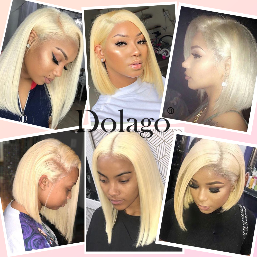 Image 4 - 613 Lace Front Human Hair Wigs Straight Short Bob Wigs 150 Density Honey Blonde Transparent Lace Wigs Dolago Colorful Wig Remy-in Human Hair Lace Wigs from Hair Extensions & Wigs