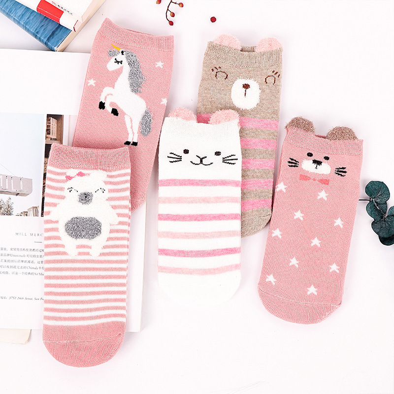 5 Pairs Women Ankle Socks Funny Cute Cartoon Stereoscopic Animals Ear Plush Boat Socks Womens Lady Girl Art Sock Short Sox