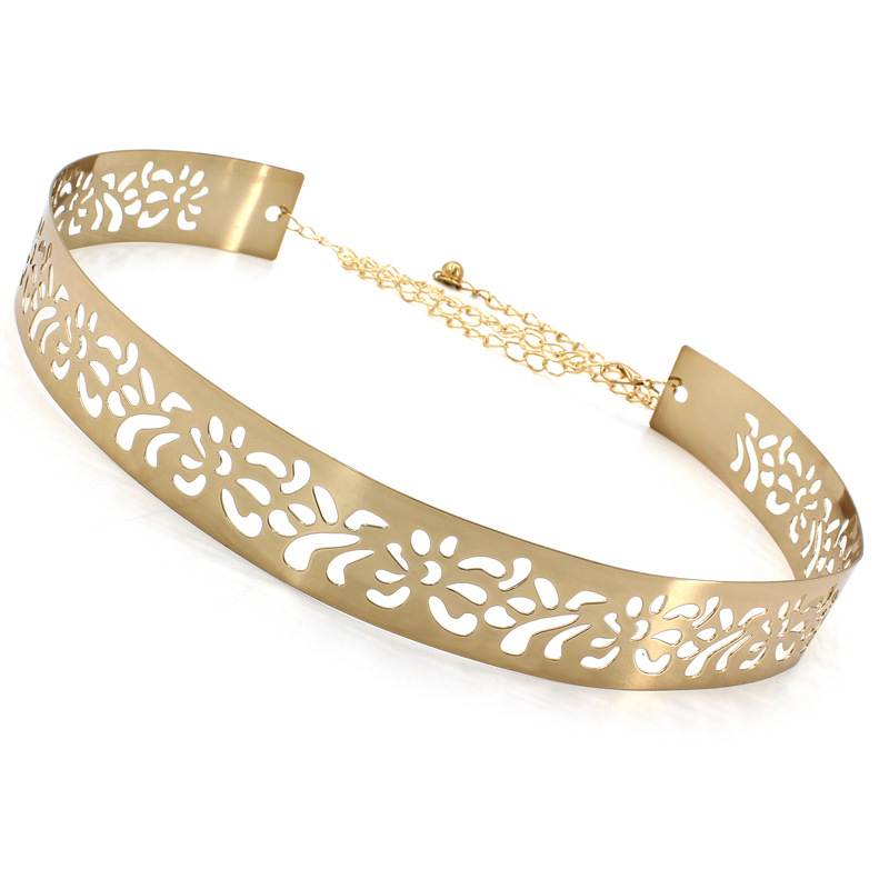 Women Dress Hollow Carving Ladies Golden Belt Wide Metal Accessories Shining Simple Waistbands Ceremony Party Gift Delicate Belt