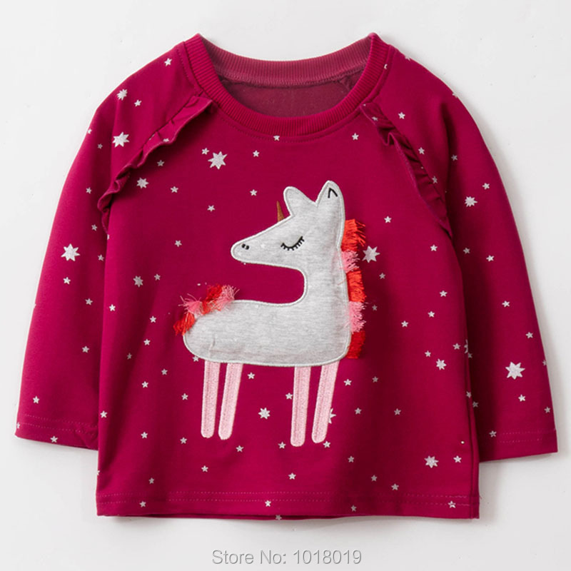 Kids Hoodies Outerwear Bebe Girls Tops Fleeces Sweatshirt Baby Girl Clothes Sweaters 100% Interloop Cotton t shirts Cartoon Tees 1