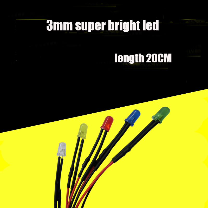 10Pcs 8mm Pre-Wired DC 9-12v Yellow Round Top Water Clear Light LED Diodes 20CM