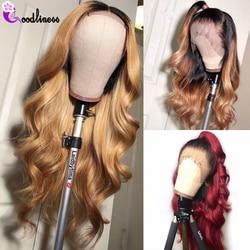 Glueless brazylijski peruka body wave 13x4 kolorowe peruki z ludzkich włosów Ombre czarny bordowy blondynka ludzki włos koronki przodu peruka naturalne remy włosy