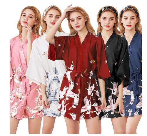 Fashion Women's Summer Mini Kimono Robe Lady Rayon Bath Gown Yukata Nightgown Sleepwear Sleepshirts Pijama Mujer Size M-XXL
