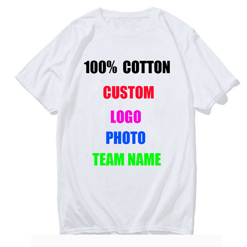 Customized Print T Shirt for Men DIY Your like Photo or Logo White Top Tees T-shirt Fashion Men's Custom T Shirts 1