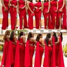 2020 Arabic Red Mermaid Bridesmaid Dresses One Shoulder Side