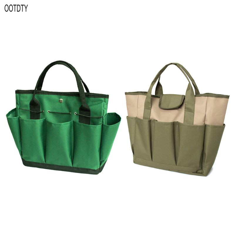OOTDTY Portable Garden Tote Bag Gardening Tool Oxford Cloth Storage Handbag Multi-pocket Toolkit Holder Organizer Supply