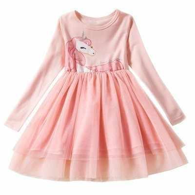 Платье Эльзы для девочек летнее кружевное платье принцессы в горошек с длинными рукавами, круглым вырезом и ожерельем платье с длинными рукавами
