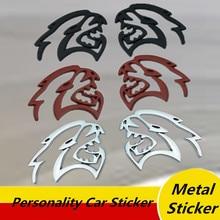 2 pcs metal Hellcat Emblem Car Stickers Front Fender Badge Door Metal Sticker For Dodge Challenger Charger SRT GT Car Styling