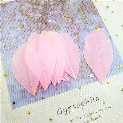 Натуральные гусиные перья 4-8 см, многоцветные белые перья, поделки своими руками, украшения для свадебной вечеринки, аксессуары, 50 шт - Цвет: pink 50pcs