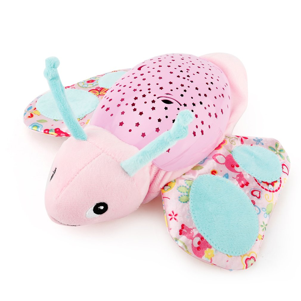 Baby Plush Toy Projector Night Lamp Music Sleeping Starry Light Star Projection And Melodies Butterfly Elephant Turtle Hippo Bee