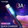 YKZ 3A Micro USB кабель Быстрая зарядка Android мобильный телефон Microusb быстрое зарядное устройство кабель для передачи данных провод для Samsung Huawei Xiaomi ...