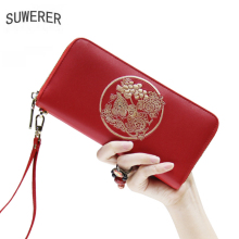 SUWERER 2020 New Women Leather bags split leather embossing vintage fashion clutch bag women bags designer women leather wallets