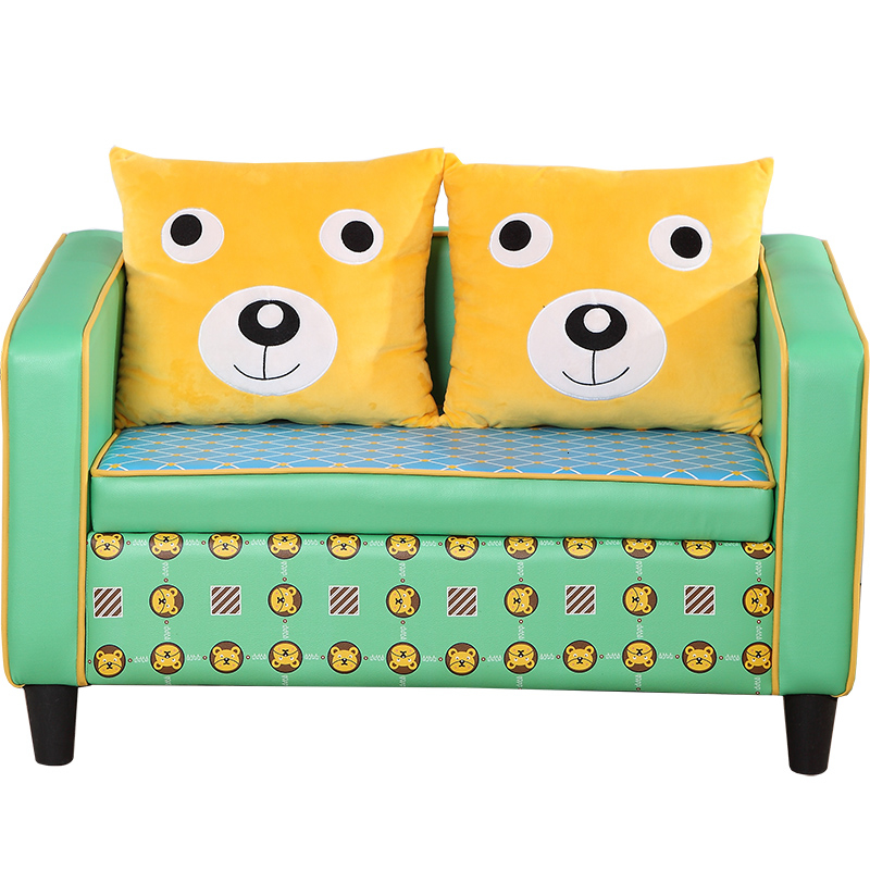 Double Person Children Sofa Lovely Baby Wooden Small Sofa Chair Originality Cartoon Two Seat Bean Bag Zitzak Kids Bedroom