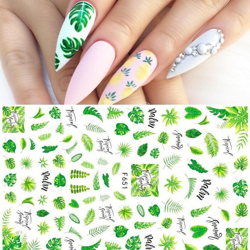 3D Nail Sticker Flower Leaves Summer Slider Transfer Stickers For Manicures Nail Art DIY Transfer Sticker Nail Art Decoration