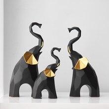 Modern Home Decoration Living Room Decor Crafts Ornaments Office Desktop Accessories Creative Geometric Elephant Resin Statue
