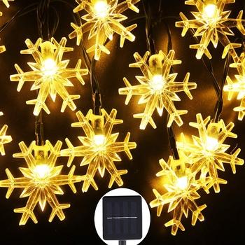 5M 10M LED łańcuchy świetlne śnieżynka słoneczna ciepłe białe wodoodporne łańcuchy świetlne bajki na impreza plenerowa Home Wedding Garden Decorat tanie i dobre opinie TONGCHUANG Floral Brak outdoor decoration light Ogniw słonecznych Koraliki Warm white Multicolor 5Meter 10Meter 20LEDs 50LEDs