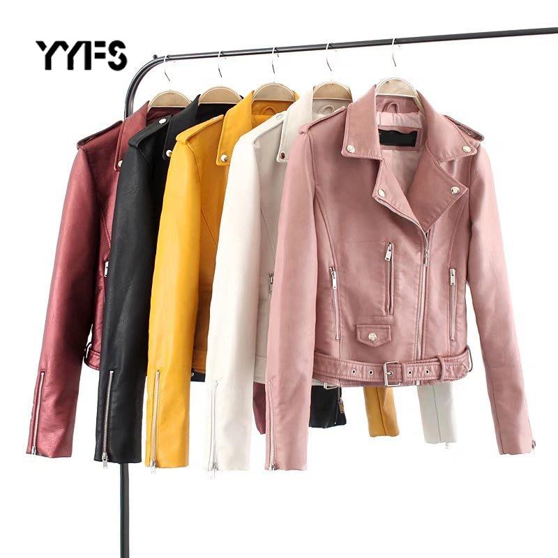 PU   Leather   Jacket Women pocket Slim Moto Short Jackets Female 2019 New Autumn Zipper Coat Streetwear Outerwear jaqueta couro 3XL