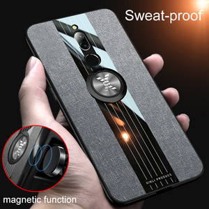 For Xiaomi Redmi 8 Case 8A Luxury Fabric Cover Shockproof Hard For Xiomi Xiaomi Redmi Note 8 Pro Phone Case Metal Ring Holder(China)