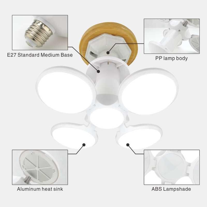 หลอดไฟLED E27 40WฟุตบอลUFO 360 องศาพับหลอดไฟAC 85-265V 110V 220V Lampada LED Spotlightไฟเย็น/อบอุ่นสีขาว