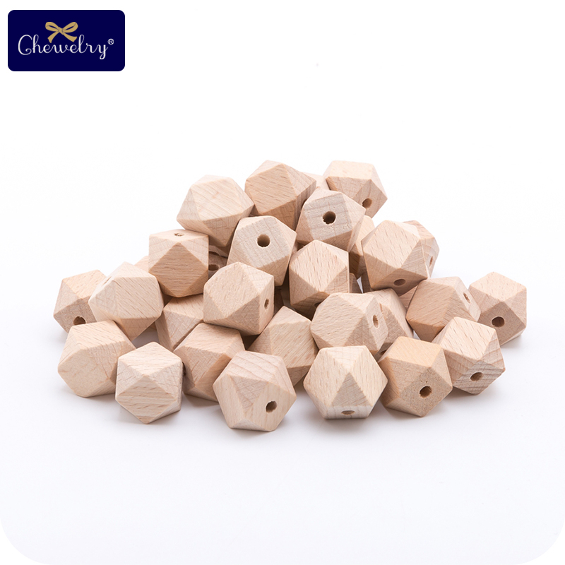 100pc 30mm Beech Wooden Beads For Pacifier Chain Hexagonal Round Wood Beads DIY Crafts Natural Rodent