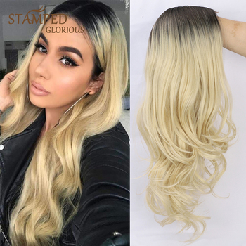 Stamped Glorious 26inches Natural Wave Middle Part Long Wig Ombre Black Blonde Heat Resistant Synthetic Wigs for Black Women elegant blonde side bang capless long big wave heat resistant synthetic wig for women