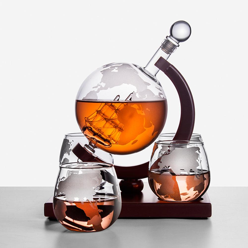 Whiskey Decanter Set Vodka Globe  With 4 Glasses For Liquor Bourbon     Finished Wood Stand