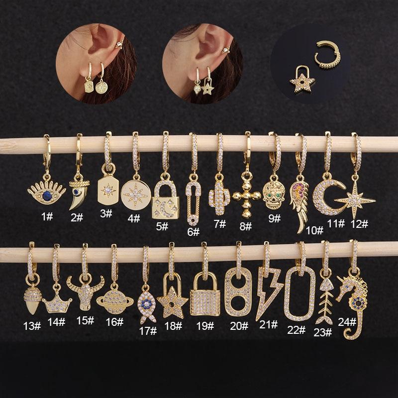 1Piece Vintage Gothic Stainless Steel Earrings for Women 2021 Trendy Jewelry 8mm Gold Hoop Earrings for Teens Ear Cuffs