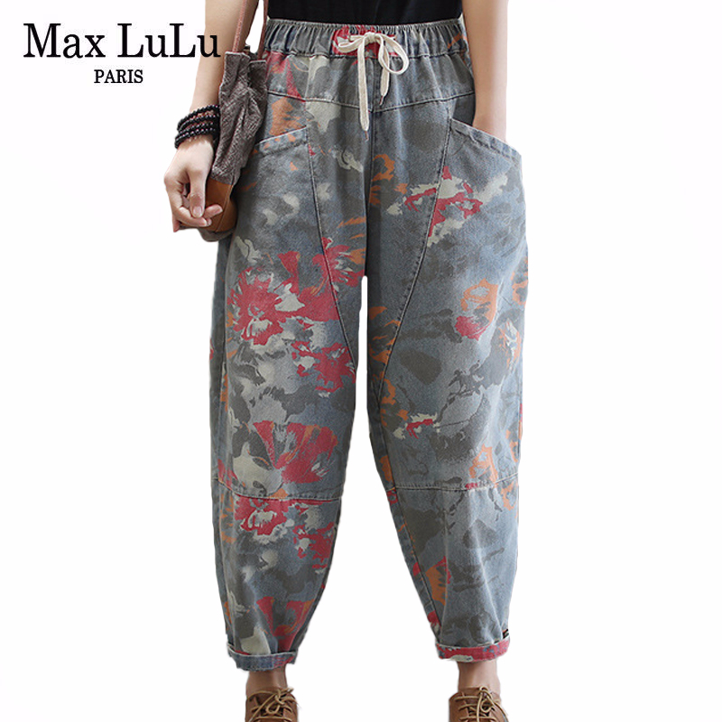 Max LuLu 2020 New Spring European Fashion Style Ladies Vintage Denim Trousers Women Loose Floral Peinted Jeans Casual Streetwear