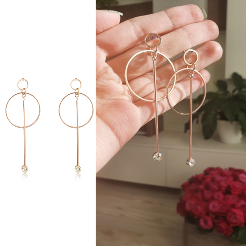 Romantic Light Pink Gold Color Geometric Circle With Bar Drop Earrings For Women Girl Casual Vintage Smart Ear Accessories