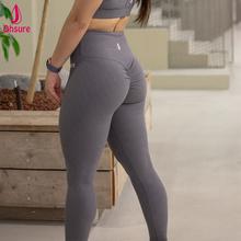 Damskie legginsy gimnastyczne odporne na przysiady 7 8 długości spodnie srunch bum nie widoczne przez legginsy fitness tanie tanio ohsure Kostki długości spodnie Nylon Elastan Mieszkanie AX8024 Wysoka Kobiety Stałe Dzianiny Ołówek spodnie skinny