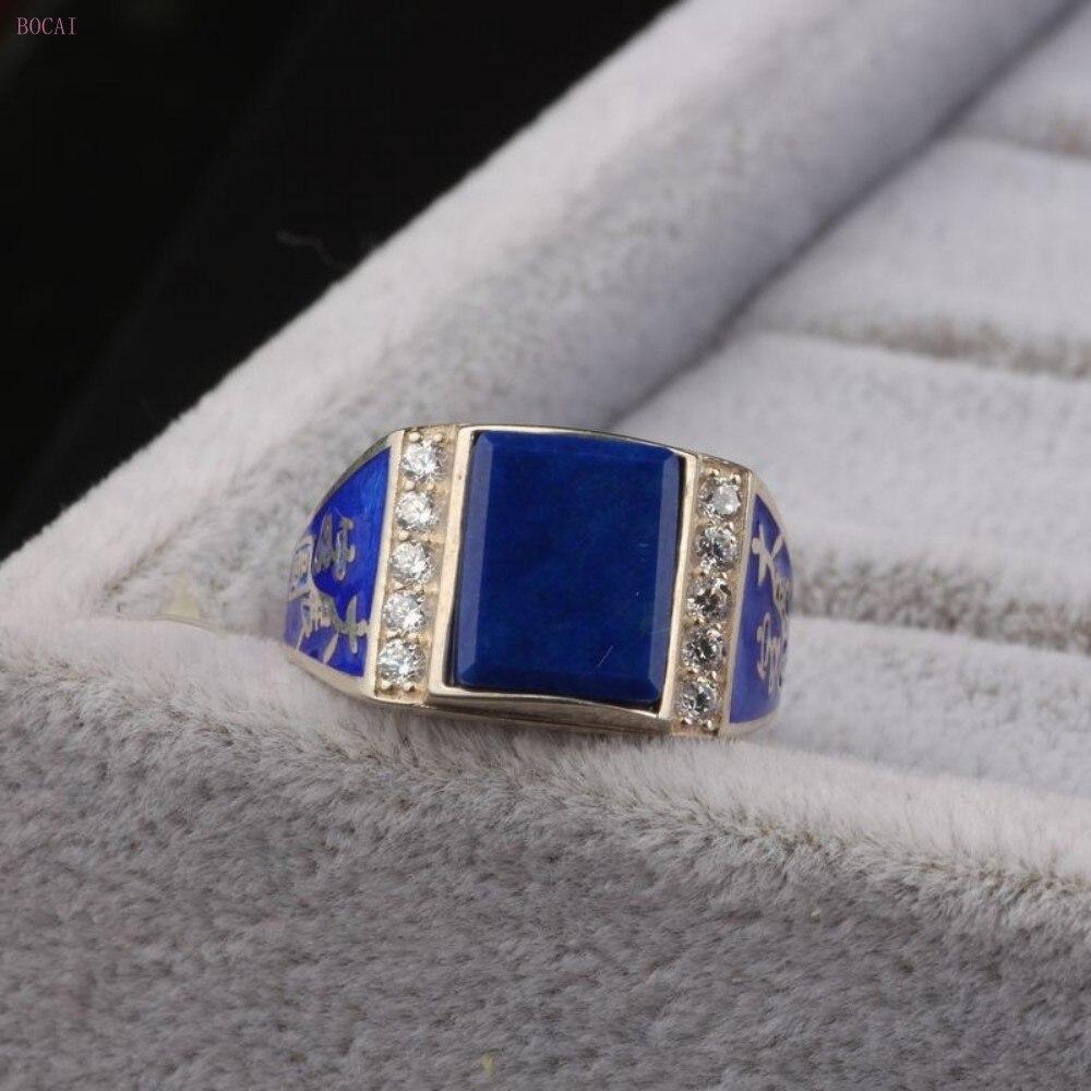 S925 bague en argent pur pour hommes ornement naturel lapis lazuli roi vert micro incrusté ouvert thai bague en argent pour hommes et femmes