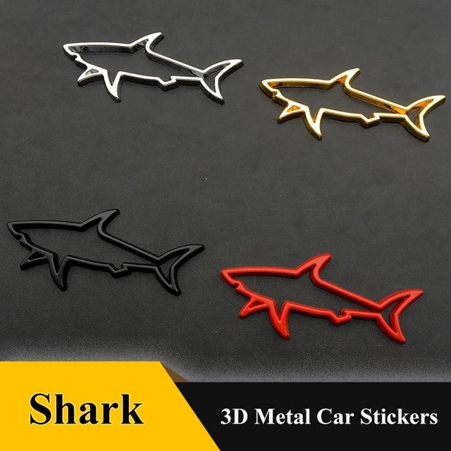 1pcs 3D Metal Car Styling Sticker Hollow Fish Shark Emblem Badge Decals Automobiles Motorcycle Computer Fuel Car Accessories