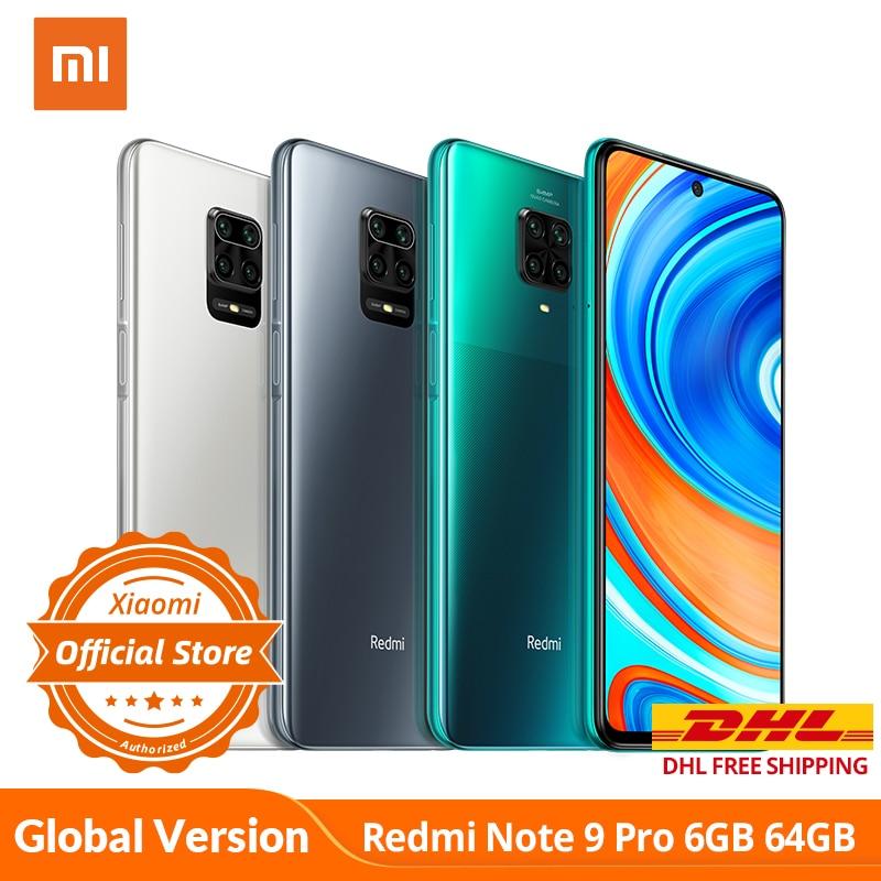 Xiaomi Redmi Note 9 Pro 6GB 64GB Global Version Smartphone NFC 64MP Quad Camera Snapdragon 720G GPay Mobile Phone 5020mAh