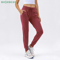 SHINBENE Naked-feel Fabric Workout Sport Joggers Pants Women Waist Drawstring Fitness Running Sweatpants with Two Side Pocket