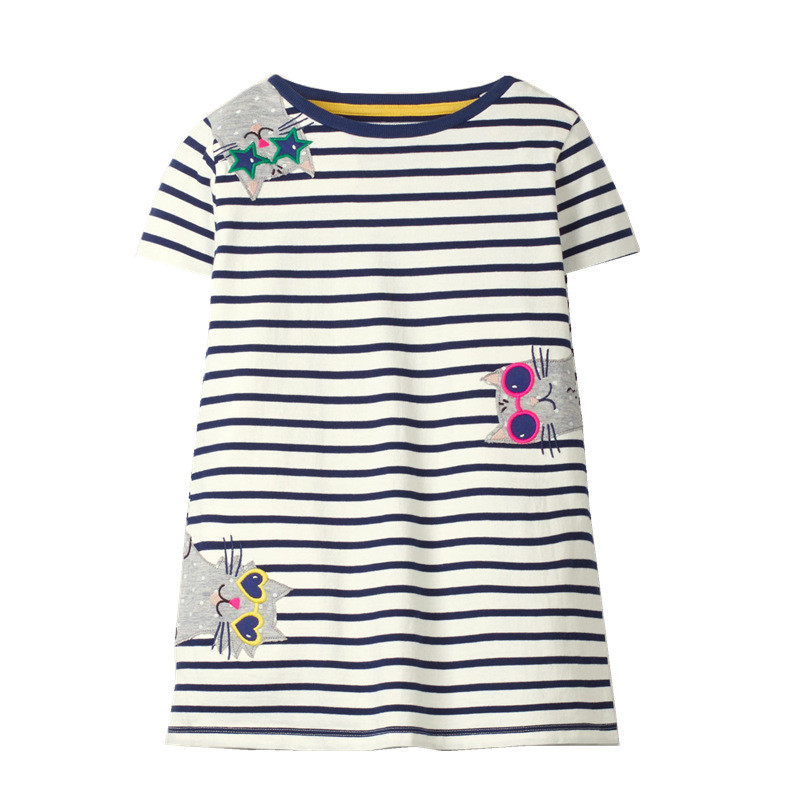 Jumping Meters  2-7T Cotton Animals Girls Dresses Summer Applique Baby Clothes Hot Selling Striped Tunic Costume Kids Dress