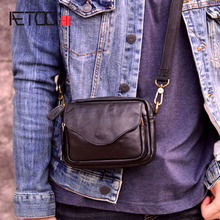 AETOO Simple mens retro shoulder Messenger bag new leather casual small first layer