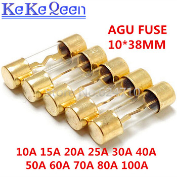 1PCS/LOT AGU 5AU FUSE 32V 10*38mm 10A 15A 20A 25A 30A 40A 50A 60A 70A 80A 100A Gold Plated Glass Car Audio Fuse image