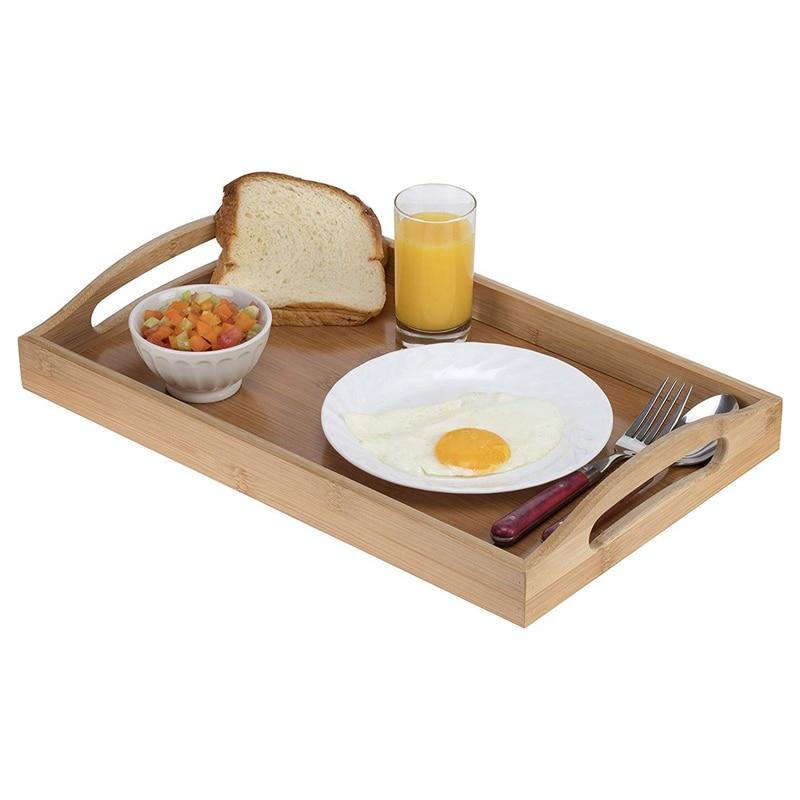 Поднос для сервировки бамбуковый-деревянный поднос с ручками-отлично подходит для обеденных подносов, чайных поддонов, поддонов для бара, поддонов для завтрака или любого поддона для еды-5