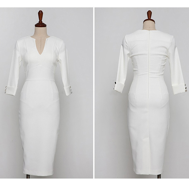 Business Office Dress 2020 Spring White Comfortable High Waist Slim Pencil Dress V-Neck Five-Sleeve Elegant Women's Party Dress 5