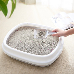 Kuweta dla zwierzaka Bedpan przeciw rozpryskom koty kuweta taca dla kota z szufelką Kitten Dog Clean Toilette Home plastikowe pudełko z piaskiem