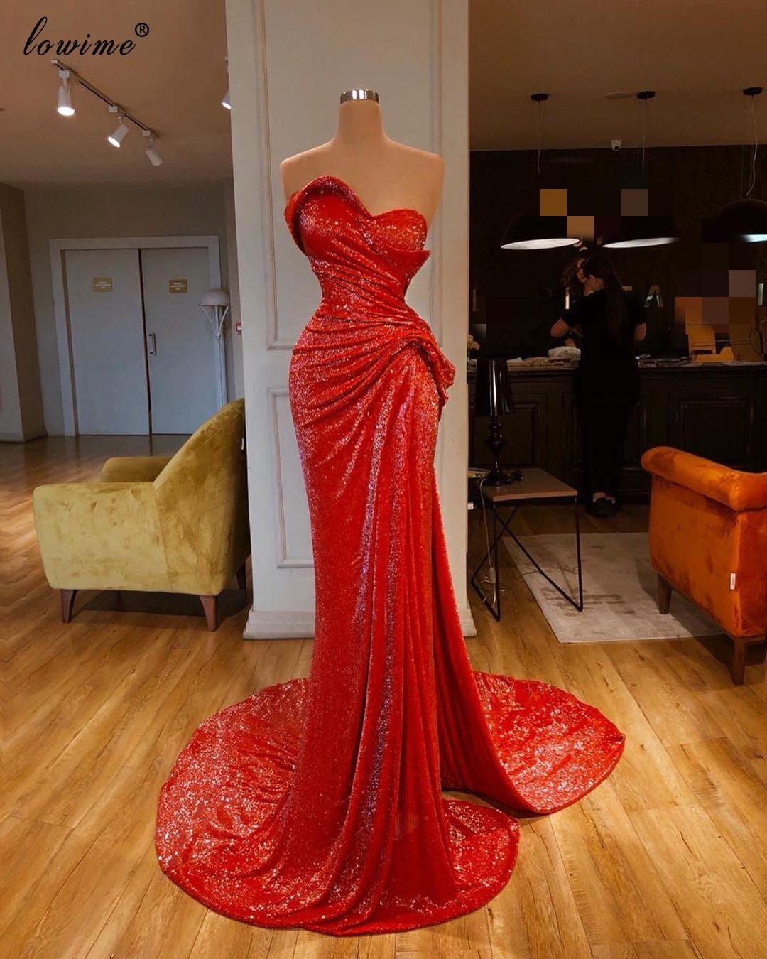 Vestidos de Baile Vestidos de Cocktail Vestido de Noite Árabe Vermelho Sereia Lindo Dubai Sexy Couture Lado Split Abendkleider 2020
