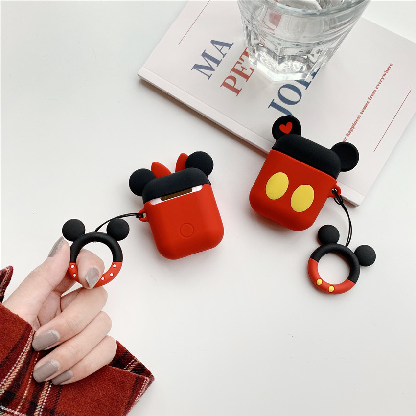 Bluetooth Earphone Case for Airpods 2 1 Protective Cover For air pods Box Key Ring Strap Cute Cartoon DIY Silicone Mickey Minnie