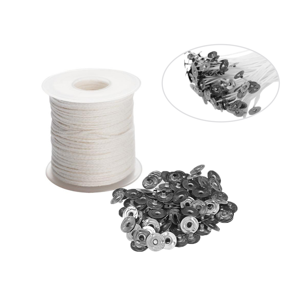 1 Roll Candle Wick Core With 100PCS Metal Candle Wick Sustainer Tabs Candles Making Tools Set For DIY Soy Paraffin Candle Making