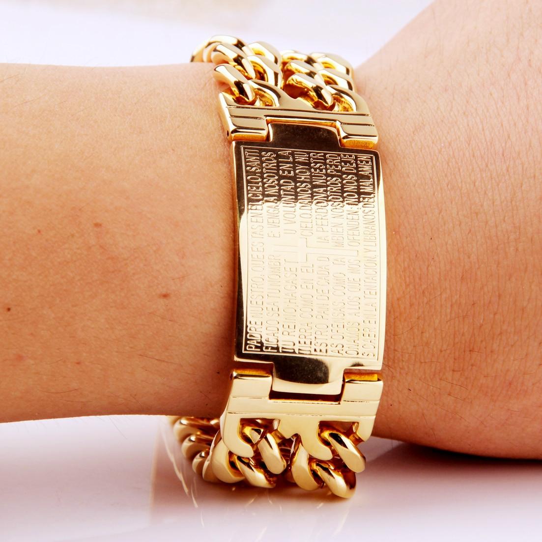 Fashion 22 5mm Heavy Men Jewelry 316L Stainless Steel Silver Gold Greece Bible Cross ID Cowboy Chain Bracelet in Chain Link Bracelets from Jewelry Accessories